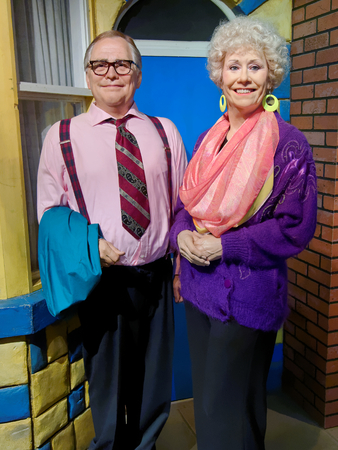 BLACKPOOL, JANUARY 14: Madame Tussauds Blackpool, UK 2018. Bill Tarmey and Sylvia Ann Ibbetson - English actors, Jack Duckworth and Vera Duckworth in the Coronation Street.