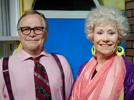 BLACKPOOL, JANUARY 14: Madame Tussauds Blackpool, UK 2018. Bill Tarmey and Elizabeth Dawn were English actors, Jack Duckworth and Vera Duckworth in the Coronation Street.