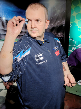 BLACKPOOL, JANUARY 14: Madame Tussauds, UK 2018. Philip Douglas Taylor - English retired professional darts player, won 216 professional tournaments, including a record 16 World Championships.