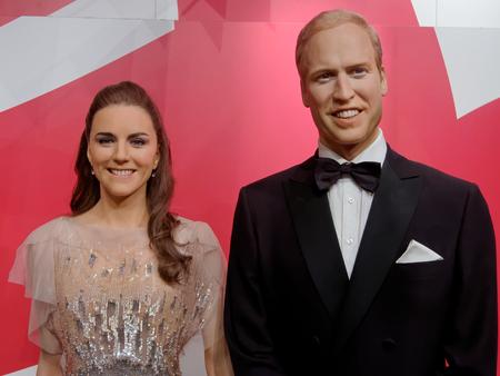 BLACKPOOL, JANUARY 14: Madame Tussauds, UK 2018. Wax figure of Prince William and Catherine Elizabeth Middleton.