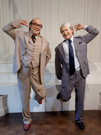BLACKPOOL, JANUARY 14: Madame Tussauds, UK 2018. John Eric Bartholomew, stage name Eric Morecambe, was an English comedian who together with Ernie Wise formed the winning double act Morecambe and Wise