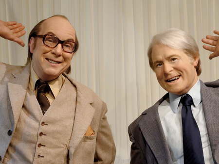 BLACKPOOL, JANUARY 14: Madame Tussauds, UK 2018. Ernest Wiseman, known by his stage name Ernie Wise, was an English comedian, best known as one half of the comedy duo Morecambe and Wise.