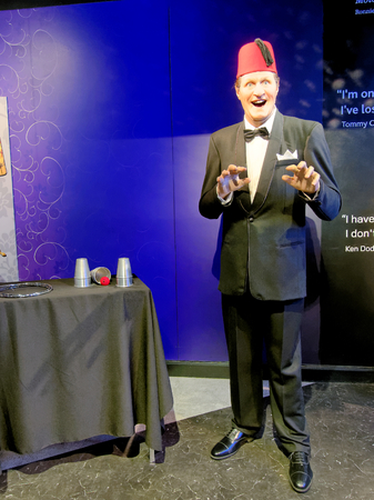 BLACKPOOL, JANUARY 14: Madame Tussauds, UK, 2018. Thomas Frederick Cooper was a British prop comedian and magician, a member of the Magic Circle. He habitually wore a red fez.