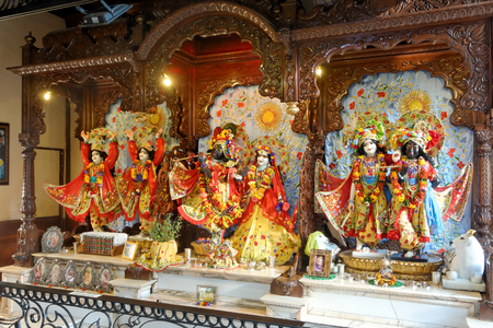 LUCAY-LE-MALE, AUGUST 15: Deities on the main altar in the Hare Krishna temple, FRANCE, 2018 Editorial