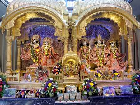 Watford, May 20: The main altar in the Hare Krishna temple called 'ISKCON Bhaktivedanta Manor', UK, 2018.