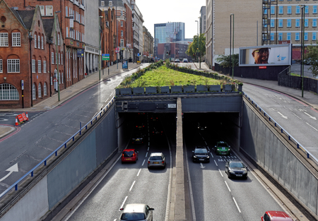 Birmingham, October 07: The entrance to the tunnel under the city, UK 2018 Editorial