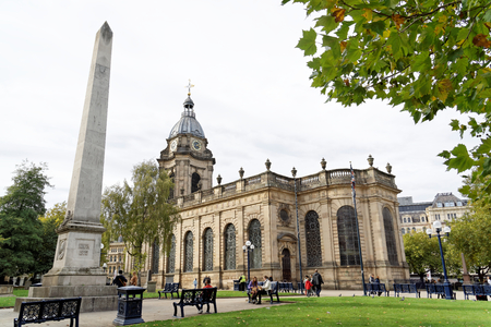 Birmingham, October 07: St. Philips Cathedral and Khiva Column located on the Cathedral Square. UK 2018 Editorial