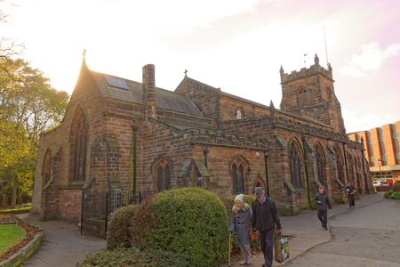 Cannock, October 31. People passing by the parish church of St Luke and St Thomas Huntington, UK 2018