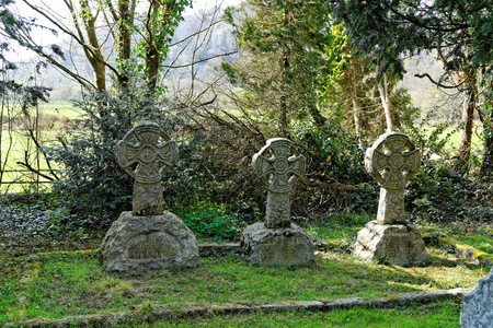 Oakeley Celtic Crosses in St. Twrog's Church, Maentwrog in the mountains of Snowdonia, Wales Archivio Fotografico - 121383464