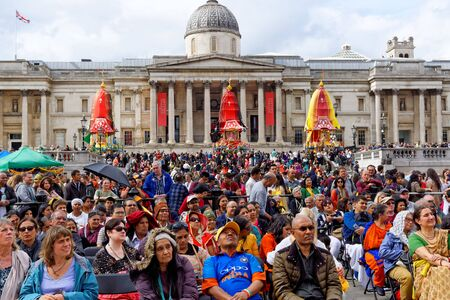 The cart festival called Rathayatra in London, carts with deities stand on the North Terrace of Trafalgar Square. June 16, UK 2019 Publikacyjne