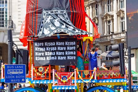 The cart festival called Rathayatra, Priest on cart. June 16, UK 2019