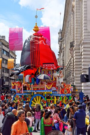 The cart festival called Rathayatra in London, wooden cart accompanied by a chanting party. June 16, UK 2019