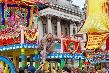 The cart festival called Rathayatra in London, Deity adored by the priests. June 16, UK 2019 Publikacyjne