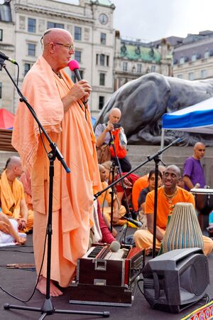 The cart festival called Rathayatra in London, Indradyumna Swami on stage. June 16, UK 2019