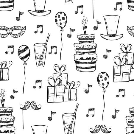 birthday party icons using doodle or hand drawing style