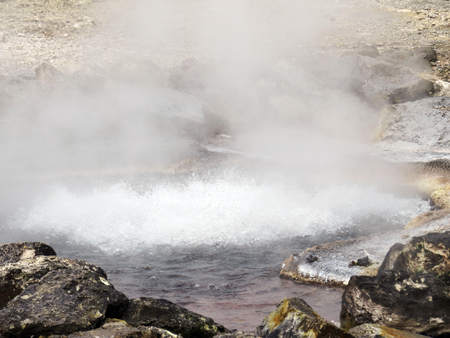 thermal spring: Boilers, thermal water Stock Photo
