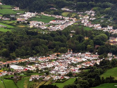 populations: View Of Furnas: Village In The Azores Stock Photo