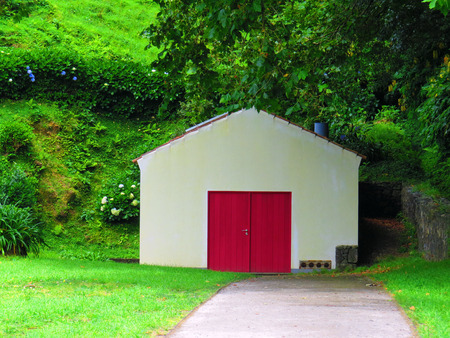red door: Shed with red door