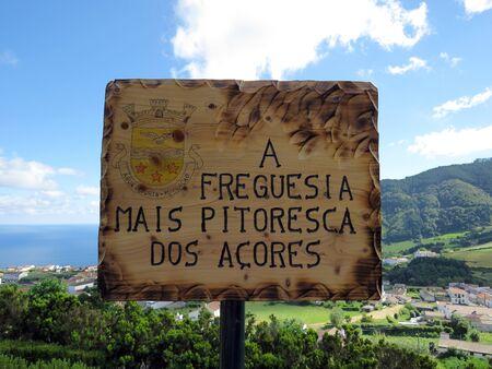 gua: Sign about Agua Retorta, Azores, Portugal Stock Photo