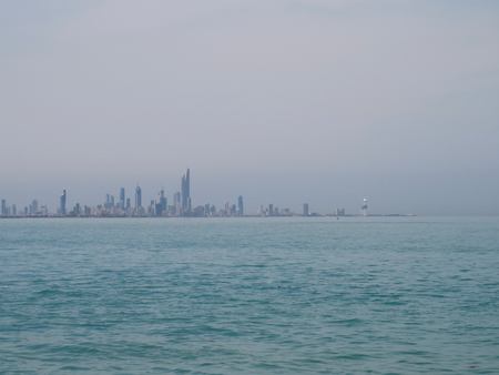 the distance: Kuwait city in the distance