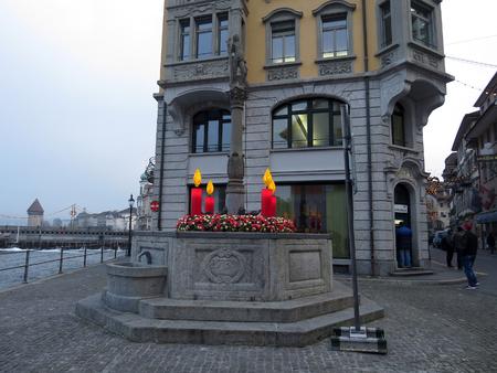 Old fountain in Lucerne, Switzerland