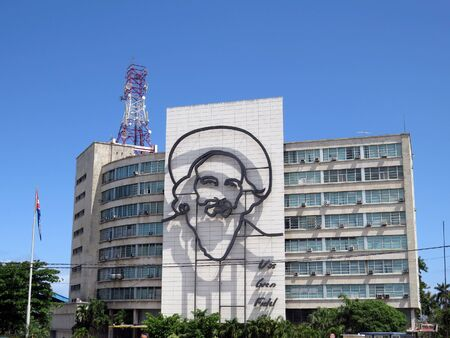 Camilo Cienfuegos face on government building, Havana - Cuba