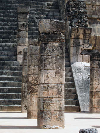 Detail of column of temple of the warriors, Chichen Itza - Mexico