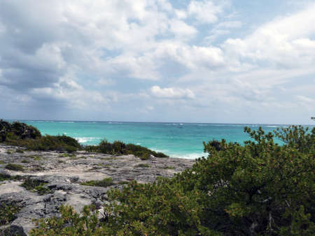 View from Tulum city ruins - Mexico