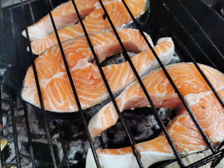 Grilling salmon Stock Photo