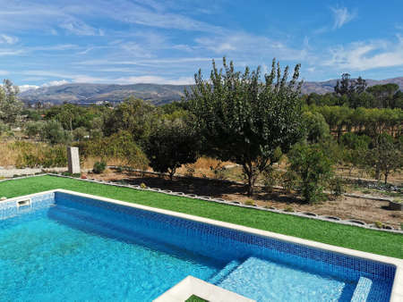Pool view of the Estrela mountain in Portugal Stock Photo
