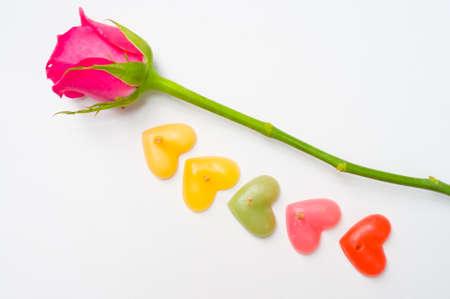 bougie coeur: Roses avec coeur bougie