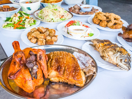 ancestor: food sacrificial offering for chinese ancestor worshiping
