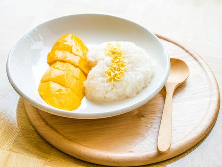 sticky: Mango with sticky rice Stock Photo