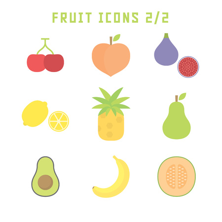 Fruit icons in flat style for your food projects or fruit publications. Иллюстрация