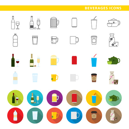 Set of twelve beverages in three different styles, lines, colors and shadows.