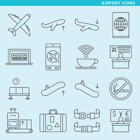 Set of sixteen airport icons for your projects about tourism and travel. Иллюстрация