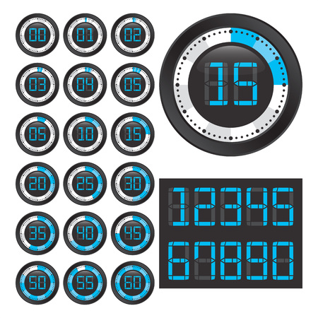 Set of chronometers with digital numbers. Ilustrace
