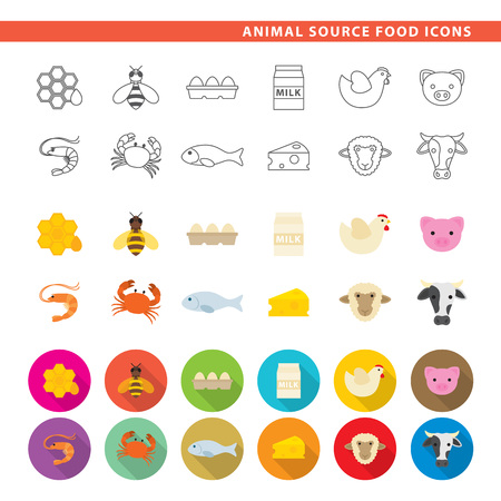 Set of twelve delicious icons in line, flat and shadow style. Çizim