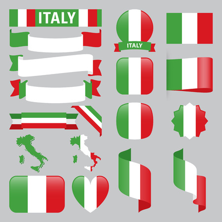 Set of Italy maps, flags, ribbons, icons and buttons with different shapes. Illustration