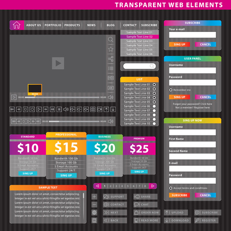 Set of design elements for web pages and multimedia content. 向量圖像