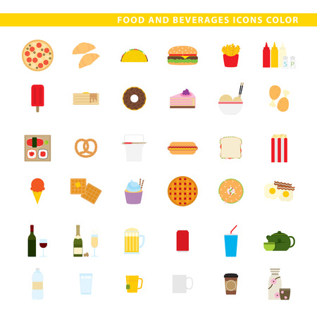 Three sets icons, traditional food, fast-food and beverages in color style.