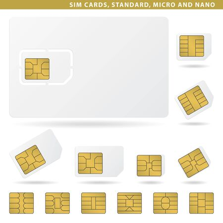 Set of sim cards for cellphone, standard, micro and nano.