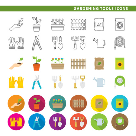 Set of twelve gardening tool icons, in three different styles, line, color and shadow. Çizim