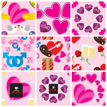 Set of nine Valentine patterns. Illustration