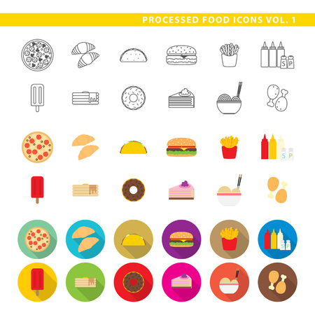 Set of twelve traditional food, fast-food, in three different styles, line, color and shadow. Ilustração