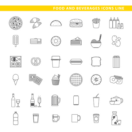 Three sets icons, traditional food, fast-food and beverages in line style. Illustration