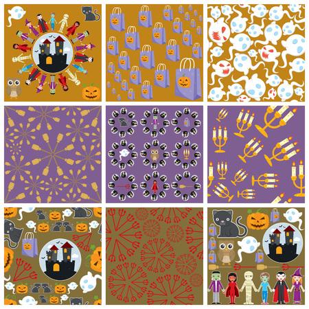 Set of nine Halloween patterns.