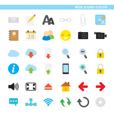 Three sets icons, hosting, mail and web navigation in color style.