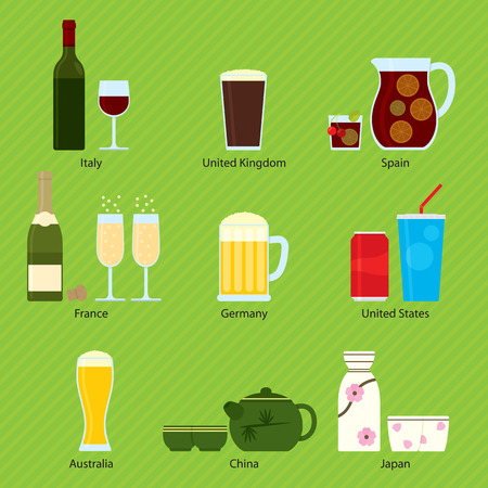 Nine traditional beverages of Italy, United Kingdom, Spain, France, Germany, United States, USA, Australia, China, Japan. Vectores