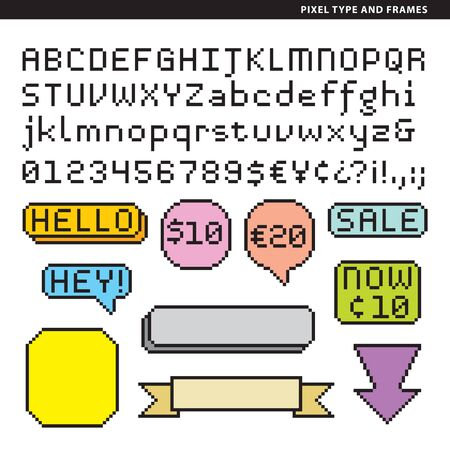 Pixel alphabet with frames for short texts or head texts.